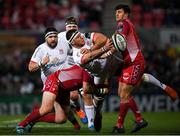29 November 2019; Marcell Coetzee of Ulster is tackled by Phil Price, left, and Dan Jones of Scarlets during the Guinness PRO14 Round 7 match between Ulster and Scarlets at the Kingspan Stadium in Belfast. Photo by Ramsey Cardy/Sportsfile