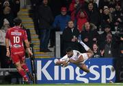 29 November 2019; Robert Baloucoune of Ulster dives over to score his side's fourth try during the Guinness PRO14 Round 7 match between Ulster and Scarlets at the Kingspan Stadium in Belfast. Photo by Ramsey Cardy/Sportsfile