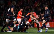 29 November 2019; Stephen Archer of Munster is tackled by Villiame Mata and Stuart McNally of  Edinburgh during the Guinness PRO14 Round 7 match between Munster and Edinburgh at Irish Independent Park in Cork. Photo by Matt Browne/Sportsfile