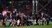 29 November 2019; Pierre Schoeman of Edinburgh lifts up the post pads during the match against Munster during the Guinness PRO14 Round 7 match between Munster and Edinburgh at Irish Independent Park in Cork. Photo by Matt Browne/Sportsfile