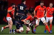 29 November 2019; Ben Healy of Munster is tackled by Pietro Ceccarelli of Edinburgh during the Guinness PRO14 Round 7 match between Munster and Edinburgh at Irish Independent Park in Cork. Photo by Matt Browne/Sportsfile