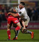 29 November 2019; Marcell Coetzee of Ulster is tackled by Jonathan Evans of Scarlets during the Guinness PRO14 Round 7 match between Ulster and Scarlets at the Kingspan Stadium in Belfast. Photo by Ramsey Cardy/Sportsfile