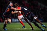 29 November 2019; Ben Healy of Munster is tackled by Hamish Watson and Villame Mata of  Edinburgh during the Guinness PRO14 Round 7 match between Munster and Edinburgh at Irish Independent Park in Cork. Photo by Matt Browne/Sportsfile