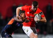 29 November 2019; Shane Daly of Munster is tackled by Eroni Sau of  Edinburgh during the Guinness PRO14 Round 7 match between Munster and Edinburgh at Irish Independent Park in Cork. Photo by Matt Browne/Sportsfile