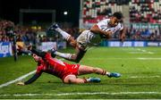 29 November 2019; Robert Baloucoune of Ulster dives over to score his side's fourth try during the Guinness PRO14 Round 7 match between Ulster and Scarlets at Kingspan Stadium in Belfast. Photo by John Dickson/Sportsfile