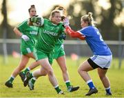 30 November 2019; Maria Byrne of Leinster in action against Saoirse Noonan of Munster during the Ladies Football Interprovincial Round 1 match between Leinster and Munster at Kinnegad in Co Westmeath. Photo by Matt Browne/Sportsfile
