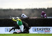 30 November 2019; Jockey Darragh O'Keeffe is unseated by his mount Kildorrery during the EasyFix Handicap Steeplechase on Day One of the Fairyhouse Winter Festival at Fairyhouse Racecourse in Ratoath, Meath. Photo by Harry Murphy/Sportsfile