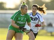 30 November 2019; Vikki Wall of Leinster in action against Lauren Boles of Connacht during the Ladies Football Interprovincial Round 2 match between Connacht and Leinster at Kinnegad in Co Westmeath. Photo by Matt Browne/Sportsfile