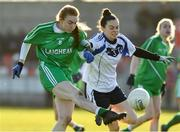 30 November 2019; Lauren Magee of Leinster in action against Sinead Kenny of Connacht during the Ladies Football Interprovincial Round 2 match between Connacht and Leinster at Kinnegad in Co Westmeath. Photo by Matt Browne/Sportsfile