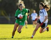 30 November 2019; Michelle Farrell of Leinster in action against Lauren Boles of Connacht during the Ladies Football Interprovincial Round 2 match between Connacht and Leinster at Kinnegad in Co Westmeath. Photo by Matt Browne/Sportsfile