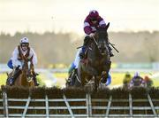 30 November 2019; Conflated, with Jack Kennedy up, jumps the last on their way to winning the Kettles Country House Supporting Fingal Ravens GAA Maiden Hurdle on Day One of the Fairyhouse Winter Festival at Fairyhouse Racecourse in Ratoath, Meath. Photo by Seb Daly/Sportsfile