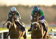 30 November 2019; Brawler, right, with Aine O'Connor up, on their way to winning the Fairyhouse 2020 Membership Handicap Hurdle on Day One of the Fairyhouse Winter Festival at Fairyhouse Racecourse in Ratoath, Meath. Photo by Seb Daly/Sportsfile