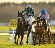 30 November 2019; Drumacoo, with Trevor Ryan up, almost part company following the last, on their way to finishing second in the Fairyhouse 2020 Membership Handicap Hurdle on Day One of the Fairyhouse Winter Festival at Fairyhouse Racecourse in Ratoath, Meath. Photo by Seb Daly/Sportsfile