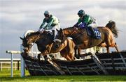 30 November 2019; Brawler, with Aine O'Connor up, right, jumps the last on their way to winning with Drumacoo, with Trevor Ryan up, left, during the Fairyhouse 2020 Membership Handicap Hurdle on Day One of the Fairyhouse Winter Festival at Fairyhouse Racecourse in Ratoath, Meath. Photo by Harry Murphy/Sportsfile