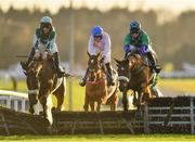 30 November 2019; Brawler, right, with Aine O'Connor up, jumps the last, alongside eventual second place Drumacoo, with Trevor Ryan up, on their way to winning the Fairyhouse 2020 Membership Handicap Hurdle on Day One of the Fairyhouse Winter Festival at Fairyhouse Racecourse in Ratoath, Meath. Photo by Seb Daly/Sportsfile