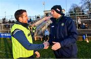 30 November 2019; Kildare manager David Herity, left, and Offaly manager Michael Fennelly shake hands after the Kehoe Cup Round 1 match between Offaly and Kildare at St Brendan's Park in Birr, Co Offaly. Photo by Piaras Ó Mídheach/Sportsfile