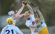 30 November 2019; Caolan Smith of Kildare in action against Daniel Doughan, left, and Liam Langton of Offaly during the Kehoe Cup Round 1 match between Offaly and Kildare at St Brendan's Park in Birr, Co Offaly. Photo by Piaras Ó Mídheach/Sportsfile