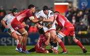 29 November 2019; Tom O'Toole of Ulster is tackled by Sam Lousi and Steve Cummins of Scarlets during the Guinness PRO14 Round 7 match between Ulster and Scarlets at the Kingspan Stadium in Belfast. Photo by Ramsey Cardy/Sportsfile