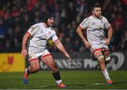 29 November 2019; Tom O'Toole, left, and Alan O'Connor of Ulster during the Guinness PRO14 Round 7 match between Ulster and Scarlets at the Kingspan Stadium in Belfast. Photo by Ramsey Cardy/Sportsfile