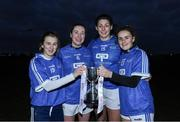 30 November 2019; Ballymacarbry club players, from left, Aileen Wall, Karen McGrath, Michelle Ryan, Kellyann Hogan with the Mick Talbot cup after the Ladies Football Interprovincial Final match between Munster and Connact at Kinnegad in Co Westmeath. Photo by Matt Browne/Sportsfile