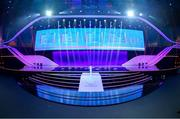 30 November 2019; The stages is seen prior to the UEFA EURO 2020 Final Draw Ceremony in Bucharest, Romania. Photo by UEFA via Sportsfile