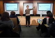 30 November 2019; Sue Ronan, FAI's Head of Women's Football, during the Women in Football - Emerging Leaders Programme at the FAI Headquarters in Abbotstown, Dublin. Photo by Stephen McCarthy/Sportsfile