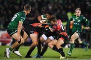 30 November 2019; Bundee Aki of Connacht is tackled by Jerry Sexton, left, and Theo Maree of Southern Kings during the Guinness PRO14 Round 7 match between Connacht and Isuzu Southern Kings at The Sportsground in Galway. Photo by Eóin Noonan/Sportsfile