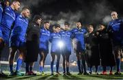 30 November 2019; Leinster players, from left, Hugo Keenan, Jack Aungier, Peter Dooley, Fergus McFadden, Hugo O'Sullivan, Ross Byrne, Ross Molony, James Tracy, Jamison Gibson-Park and Devin Toner huddle following the Guinness PRO14 Round 7 match between Glasgow Warriors and Leinster at Scotstoun Stadium in Glasgow, Scotland. Photo by Ramsey Cardy/Sportsfile