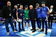 30 November 2019; Carl Frampton with his team, from left, Top Rank VP Carl Moretti, Tommy Coyle, Jamie Conlan, Top RanK CEO Bob Arum, and his trainers Jamie Moore and Nigel Travis after defeating Tyler McCreary in their super-featherweight bout at the Cosmopolitan of Las Vegas in Las Vegas, Nevada, United States. Photo by Mikey Williams/Top Rank/Sportsfile