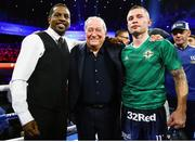 30 November 2019; Carl Frampton, right, with WBO junior lightweight title Champion Jamel Herring, left, and Top Rank CEO Bob Arum following his super-featherweight bout at the Cosmopolitan of Las Vegas in Las Vegas, Nevada, United States. Photo by Mikey Williams/Top Rank/Sportsfile