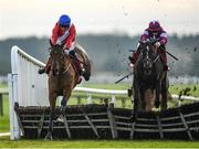 1 December 2019; Envoi Allen, left, with Davy Russell up, jumps the last alongside eventual second place Abacadabras, with Jack Kennedy up, on their way to winning the BARONERACING.COM Royal Bond Novice Hurdle on Day 2 of the Fairyhouse Winter Festival at Fairyhouse Racecourse in Meath. Photo by Harry Murphy/Sportsfile