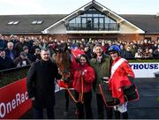 1 December 2019; Trainer Gordon Eliott, representative owner Chris Hitchens and jockey Davy Russell with Envoi Allen after winning the BARONERACING.COM Royal Bond Novice Hurdle on Day 2 of the Fairyhouse Winter Festival at Fairyhouse Racecourse in Meath. Photo by Harry Murphy/Sportsfile