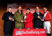 1 December 2019; Trainer Gordon Eliott, representative owner Chris Hitchens and jockey Davy Russell after winning the BARONERACING.COM Royal Bond Novice Hurdle on Day 2 of the Fairyhouse Winter Festival at Fairyhouse Racecourse in Meath. Photo by Harry Murphy/Sportsfile