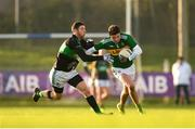 1 December 2019; Jack Kennedy of Clonmel Commercials is tackled by Luke Connolly of Nemo Rangers during the AIB Munster GAA Football Senior Club Championship Final match between Nemo Rangers and Clonmel Commercials at Fraher Field in Dungarvan, Waterford. Photo by Eóin Noonan/Sportsfile