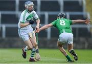 1 December 2019; TJ Reid of Ballyhale Shamrocks in action against Michael Walsh of St Mullin's during the AIB Leinster GAA Hurling Senior Club Championship Final match between Ballyhale Shamrocks and St Mullin's at MW Hire O'Moore Park in Portlaoise, Co Laois. Photo by Piaras Ó Mídheach/Sportsfile