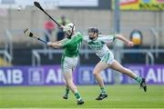 1 December 2019; Martin Kavanagh of St Mullin's scores a point under pressure from Conor Phelan of Ballyhale Shamrocks during the AIB Leinster GAA Hurling Senior Club Championship Final match between Ballyhale Shamrocks and St Mullin's at MW Hire O'Moore Park in Portlaoise, Co Laois. Photo by Piaras Ó Mídheach/Sportsfile