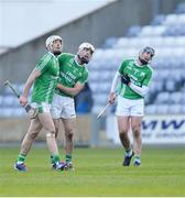 1 December 2019; Martin Kavanagh of St Mullin's, centre, watches his second half shot go over the bar alongside team-mates James Doyle, left, and Oisín Boland during the AIB Leinster GAA Hurling Senior Club Championship Final match between Ballyhale Shamrocks and St Mullin's at MW Hire O'Moore Park in Portlaoise, Co Laois. Photo by Piaras Ó Mídheach/Sportsfile