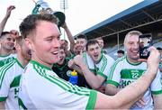 1 December 2019; Ballyhale Shamrocks player Richie Reid, who his currently in the Lebanon on Peacekeeping duty with the Irish Army, is shown on facetime on the phone held by teammate Conor Walsh during the celebrations after the AIB Leinster GAA Hurling Senior Club Championship Final match between Ballyhale Shamrocks and St Mullin's at MW Hire O'Moore Park in Portlaoise, Co Laois. Photo by Piaras Ó Mídheach/Sportsfile
