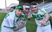1 December 2019; Ballyhale players, from left, Eoin Kenneally, Evan Shefflin, and Brian Butler celebrate after the AIB Leinster GAA Hurling Senior Club Championship Final match between Ballyhale Shamrocks and St Mullin's at MW Hire O'Moore Park in Portlaoise, Co Laois. Photo by Piaras Ó Mídheach/Sportsfile