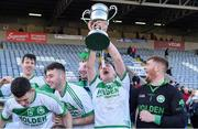 1 December 2019; Evan Shefflin of Ballyhale Shamrocks celebrates with the cup after the AIB Leinster GAA Hurling Senior Club Championship Final match between Ballyhale Shamrocks and St Mullin's at MW Hire O'Moore Park in Portlaoise, Co Laois. Photo by Piaras Ó Mídheach/Sportsfile