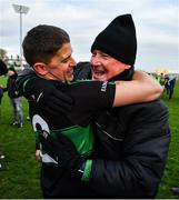 1 December 2019; Colin O'Brien of Nemo Rangers celebrates with Nemo Rangers selector Billy Morgan following the AIB Munster GAA Football Senior Club Championship Final match between Nemo Rangers and Clonmel Commercials at Fraher Field in Dungarvan, Waterford. Photo by Eóin Noonan/Sportsfile