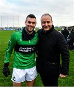 1 December 2019; Leader of Fianna Fáil Mícheál Martin TD with his son Micheal Aodh Martin of Nemo Rangers following the AIB Munster GAA Football Senior Club Championship Final match between Nemo Rangers and Clonmel Commercials at Fraher Field in Dungarvan, Waterford. Photo by Eóin Noonan/Sportsfile
