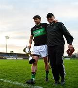 1 December 2019; Nemo Rangers captain Barry O'Driscoll leaves the field with manager Paul O'Donovan following the AIB Munster GAA Football Senior Club Championship Final match between Nemo Rangers and Clonmel Commercials at Fraher Field in Dungarvan, Waterford. Photo by Eóin Noonan/Sportsfile