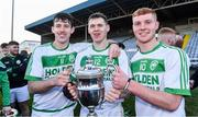 1 December 2019; Ballyhale Shamrocks players, from left, Brian Cody, TJ Reid, and Adrian Mullen celebrate with the cup after the AIB Leinster GAA Hurling Senior Club Championship Final match between Ballyhale Shamrocks and St Mullin's at MW Hire O'Moore Park in Portlaoise, Co Laois. Photo by Piaras Ó Mídheach/Sportsfile