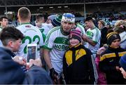 1 December 2019; TJ Reid of Ballyhale Shamrocks poses for a photograph with a supporter after the AIB Leinster GAA Hurling Senior Club Championship Final match between Ballyhale Shamrocks and St Mullin's at MW Hire O'Moore Park in Portlaoise, Co Laois. Photo by Piaras Ó Mídheach/Sportsfile