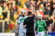 1 December 2019; Michael Fennelly of Ballyhale Shamrocks is shown the red card by by referee Seán Stack, for a second yellow card offence, during the AIB Leinster GAA Hurling Senior Club Championship Final match between Ballyhale Shamrocks and St Mullin's at MW Hire O'Moore Park in Portlaoise, Co Laois. Photo by Piaras Ó Mídheach/Sportsfile