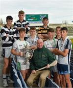 2 December 2019; Former Kilkenny hurler and Competition Ambassador DJ Carey, centre, is joined by players from participating schools and colleges, from left, Conor Kelly and Ciarán Brennan of St Kieran's College, Kilkenny, Zac Firman of St Peter's College, Wexford, Brian Dunne of North Dublin Colleges, Iain Ó hEithir of Coláiste Eoin, Booterstown, Dublin, Conor Mahoney of St Peter's College, Wexford, Brian Mac Síthigh of Coláiste Eoin, Booterstown, Dublin, and Paddy Doyle of North Dublin Colleges, during the Top Oil Leinster GAA Post Primary Schools Hurling Launch at Croke Park in Dublin.  Photo by Seb Daly/Sportsfile