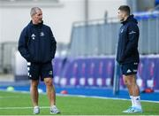 2 December 2019; Senior coach Stuart Lancaster, left, in conversation with Jordan Larmour during Leinster Rugby squad training at Energia Park in Donnybrook, Dublin. Photo by Ramsey Cardy/Sportsfile