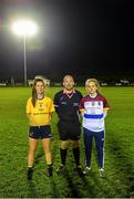 3 December 2019; DCU captain Ciara Finnegan, left, referee Jonathan Murphy, centre, and UL captain Shauna Howley prior to the Gourmet Food Parlour HEC Ladies Division 1 League Final match between Dublin City University and University of Limerick at Stradbally GAA, Co Laois. Photo by Eóin Noonan/Sportsfile