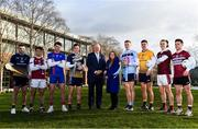 4 December 2019; In attendance during the Electric Ireland Higher Education GAA Championships Launch and Draw are, from left, Rory O'Connor of DCU Dóchas Éireann, Paul Hoban of NUIG, Tim O'Mahoney of Mary Immaculate College, Riain McBride of DCU Dóchas Éireann, Uachtaráin Cumann Lúthchleas Gael John Horan, Maeve Galvin, Sponsorship Programme Manager, Electric Ireland, Ray Connellan of UCD, Brendan McCole of DCU Dóchas Éireann, Kieran Molloy of NUIG and Liam Rafferty of St Mary's with the Fitzgibbon and Sigerson Cups at DCU, Dublin. Photo by Sam Barnes/Sportsfile
